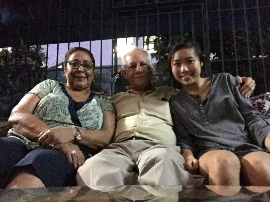 Sophomore Mizuki Kai (right) smiles with her host family.