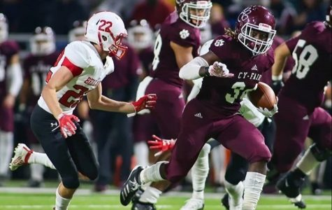 Walter Truitt tackles a Cy-Fair player during a 2019 playoff game. Photos provided by Walter Truitt