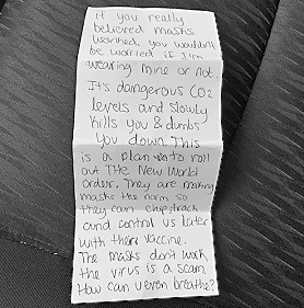 Note waitress gave to customer.