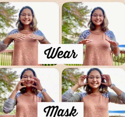 "Lia Hatvany communicates ""Wear a mask"" in American sign language."