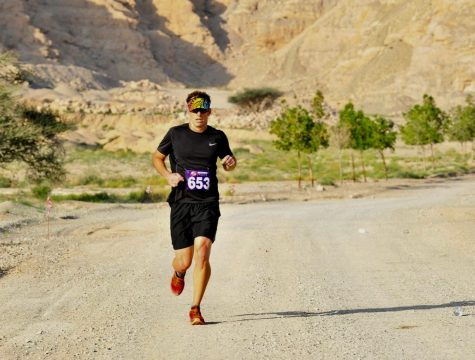 Schmidt runs in February at a trail run at the base of Jebel Jais, a mountain in the United Arab Emirates