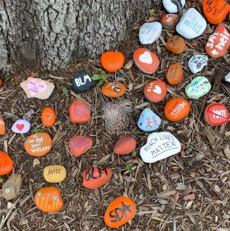 Rocks painted by members of Students Demand Action on issues such as Black Lives Matter and gun violence.