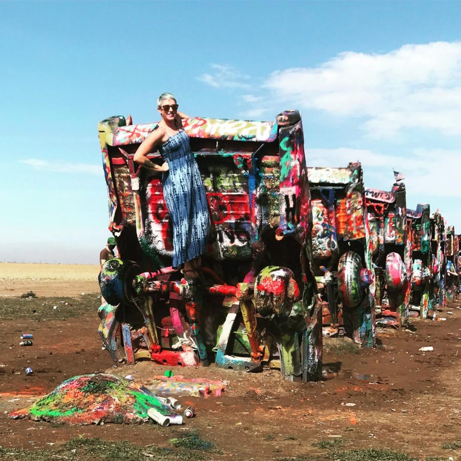 Teacher Kelly Quarles enjoys her time at the Cadillac Ranch