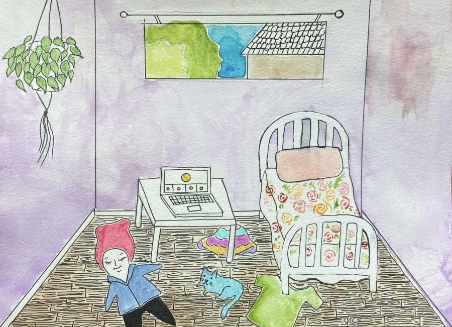 Illustration of Greene relaxing in-between her online classes.