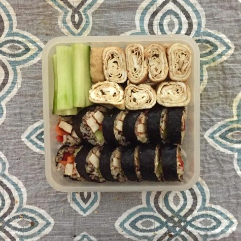 Sophia Kotlyar packs homemade kimbap, a Korean meal, as lunch for her and her little brother. Photo courtesy of Sophia Kotlyar.