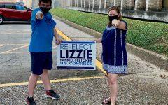 Lizzie Fletcher with campaign intern and senior Elan Silberlicht
