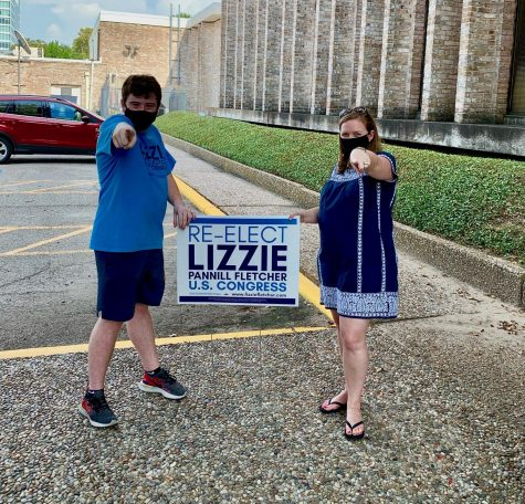 Lizzie Fletcher with campaign intern and senior Elan Silberlicht