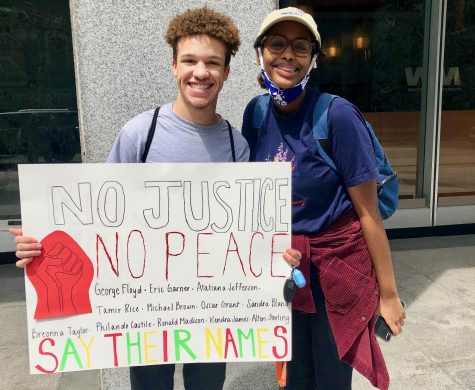 Senior Yasmeen Ofleh and junior Ashton Brown attend a BLM protest over the summer.