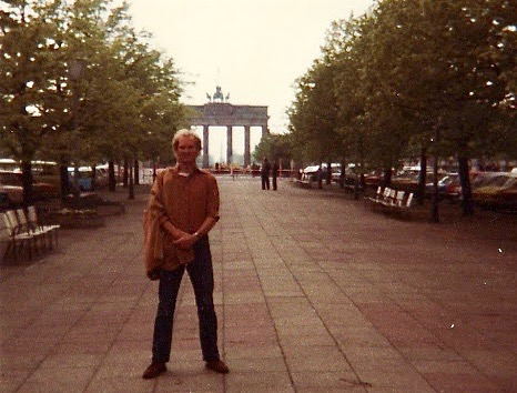 Micheal Rossow in front of the Brandenburg in 1981 in East Germany.