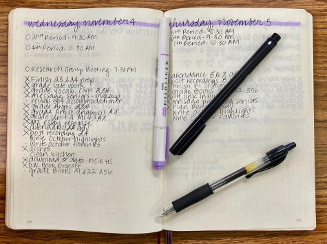 Ms. Bonnes uses her bullet journal to write her daily to-do lists. Not only does this help her relieve stress, but also gives her a way to stay organized.