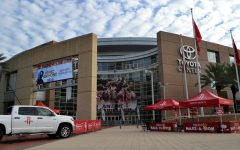 The Houston Rockets play at Toyota Center, located in Downtown Houston.