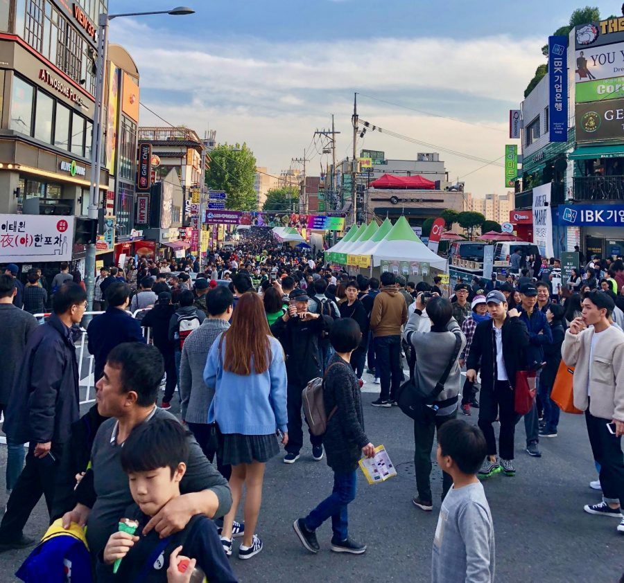 A crowded city street in Itaewon. This is during the global village festival on Oct 14.