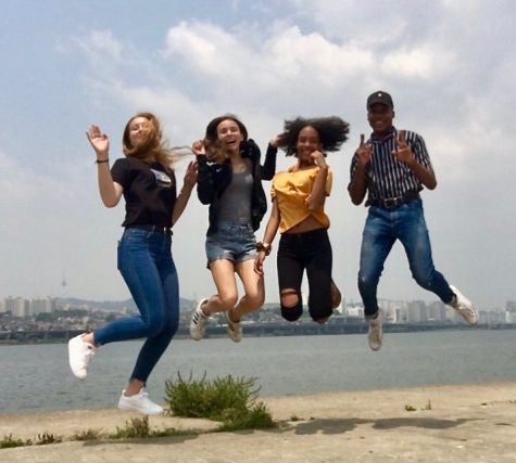 Zachery (far right) celebrates with friends Valeriya, Maddy and Amelia near the Han River. This was their last day of school so they took this time to explore Seoul.