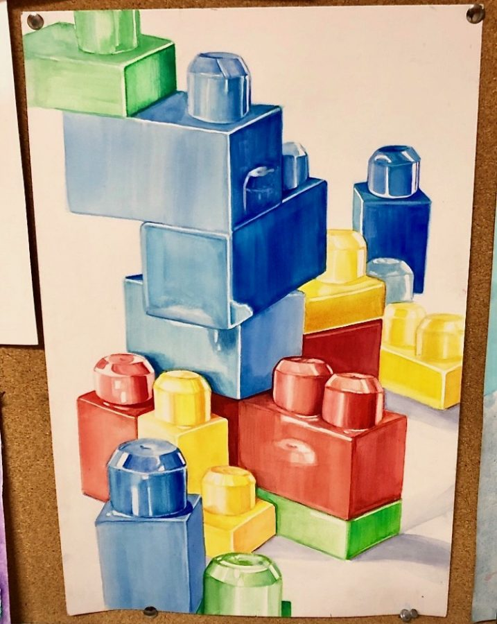 Ostrin's drawing of large Legos was put up in the hallways at school. This was her first drawing to be displayed in the freshman year.