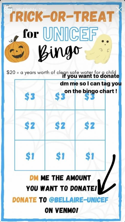 The bingo board posted by sophomore Karla Ramirez on her instagram story to support her favorite UNICEF Club event, the Trick-or-Treat Halloween Bingo. By doing this, Ramirez was able to help children obtain water, food, shelter and education.