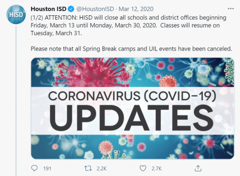 HISD tweeted this message out on March 12, 2020. Exactly a year later, HISD schools have still not returned to 100% in-person learning.