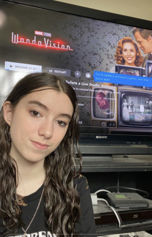 Sophomore Daniella Schneider watches WandaVision on DIsney+. Schneider enjoys the shows storyline and numerous Easter eggs that are dropped in the episodes.