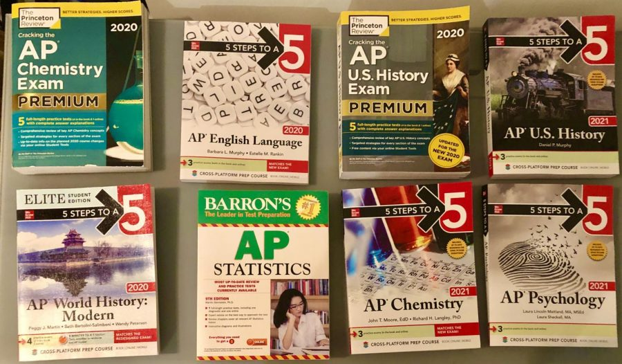 Students buy many review books in order to study for their AP tests, and the books that are pictured above are the most popular books.