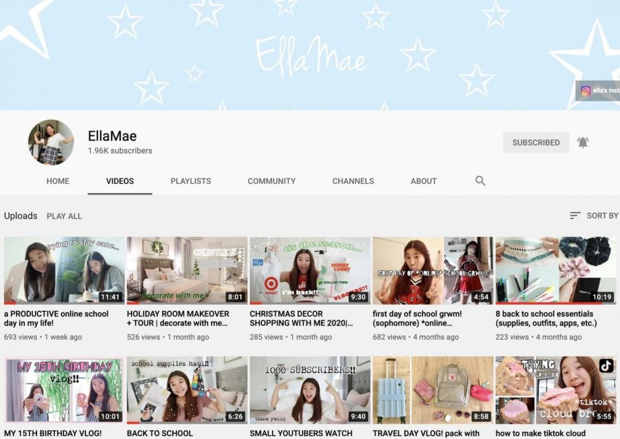 Sophomore Ella Lee started her youtube channel back in June 2019 and since then, the channel has gained 1,960 subscribers. She makes lifestyle videos like room decoration and day in the life videos. Lee has made 23 videos so far and hopes to inspire young girls and be seen as an influencer in the future.