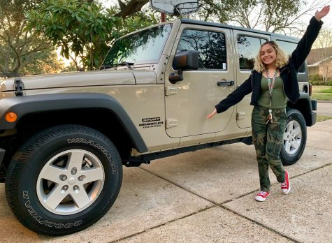 Senior Maria G. Perez drives her beige Jeep Wrangler to wherever she desires. It is what has now made her more responsible.