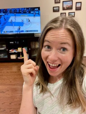 Natalie Christian enjoys the NCAA Mens College Basketball championship game. Baylor and Gonzaga went head-to-head on April 5, 2021, resulting in Baylor winning its first mens basketball championship in school history.