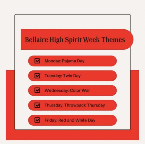 Spirit week is Oct. 11-15. Student Council will host a competition for a $50 gift card. Enter by submitting photos of your outfit to the STUCO Instagram: @bellaire.stuco