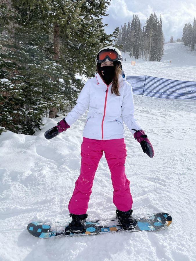 Maggie Schwierking after her first snowboarding lesson in Solitude, Utah on Feb. 24 2021. Schwierking had wanted to try something new like snowboarding after lots of experience with skiing.